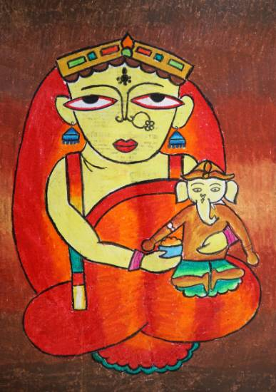 Painting  by Shoubhit D Rathore - Parvati with Bal Ganesha