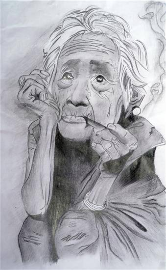 painting by Teju Tanaji Patil - Old age - Sketch