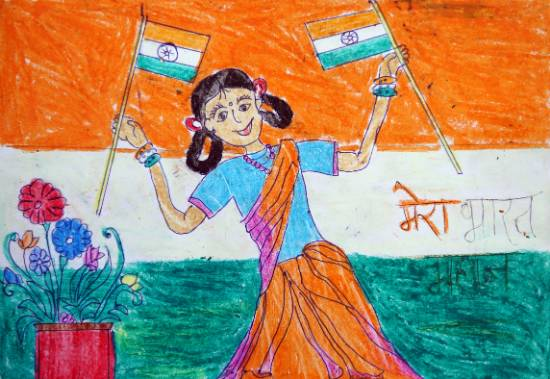 Painting  by Ujwala Janu Thakare - Girl with Indian Flags