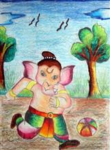 Painting  by Varad Ganesh Jadhav - Ganesha Playing Football