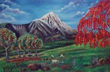 Mt. Damavand, Iran, painting by Hutoxi Wadia
