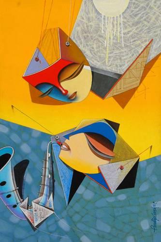 Flight of Imagination - 5, painting by Pradip Sarkar