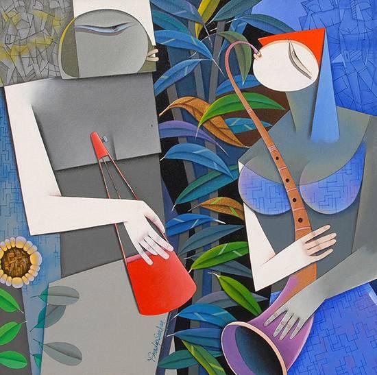 Love always triumphs - II, painting by Pradip Sarkar