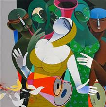 Rhythm and Melodies - IV, Painting by Artist Pradip Sarkar, 