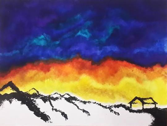 Painting  by Manasi Jadhav - Hill And Sky