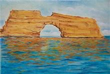 Arch in the Sea, painting by Nirmal Pathare, oil on canvas, 18 x 23 inches
