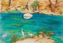 Wadi in Oman, painting by Nirmal Pathare, oil on canvas, 18 x 23 inches