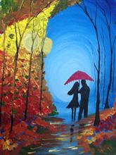 Painting by Sohini Ghosh - Walk in the Rain