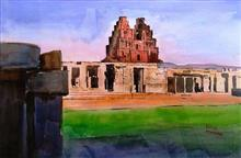 Vitthala Temple, Hampi, painting by Aditya Ponkshe, Watercolour on Paper, 15 x 22 inches