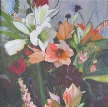 A Bouquet, Medley of Flower, Painting by Artist Radhika Mondal, Oil on Canvas , 24 x 24 inches