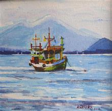 A Solitary Boat, painting by Radhika Mondal, Acrylic on Canvas, 8 x 8 inches