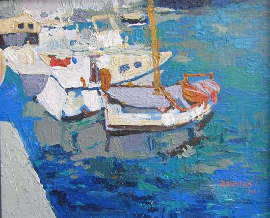 Boats in Knife, painting by Radhika Mondal