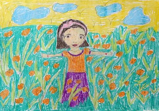 Painting  by Darshana Tumbada - Happy Girl