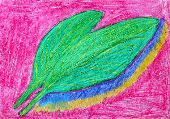 Painting  by Jagruti Ibhad - Green abstract leaf