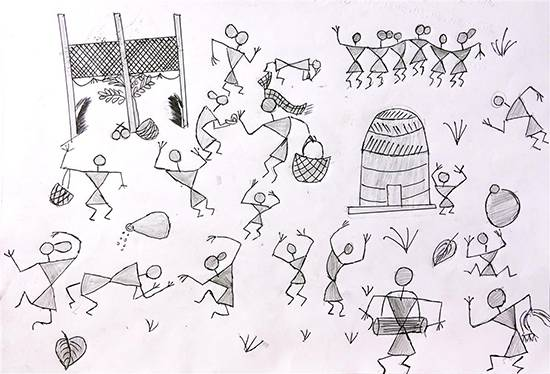 Painting  by Suraj Wangad - Warli