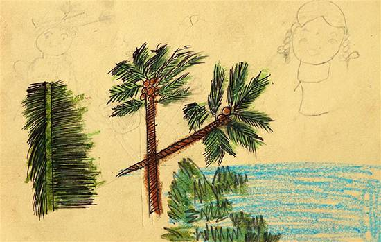 Painting  by Kavita Ranjad - Coconut Tree