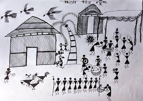 painting by Umesh Kanoja - Warli Art