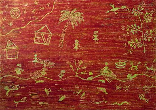 painting by Vaishali Kharad - Warli Art - Fishing