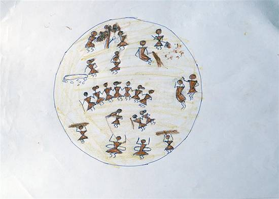 Warli Art, painting by Vaishali Kharad