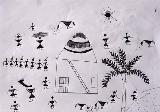 painting by Vaishali Mandal - Warli Art