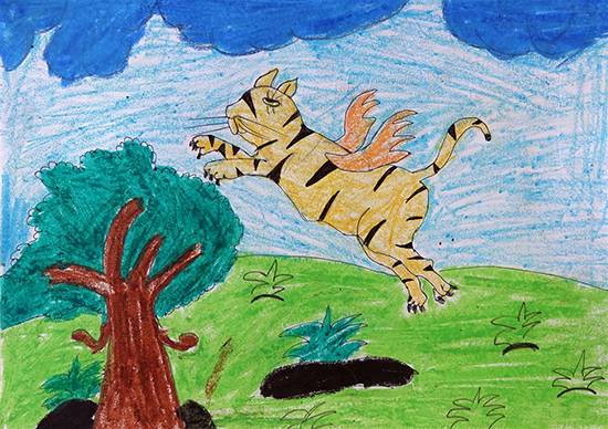 painting by Vaishali Mandal - Flying Tiger