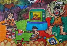 Painting  by Aayushi Sen - Cave Man and Today's Technology