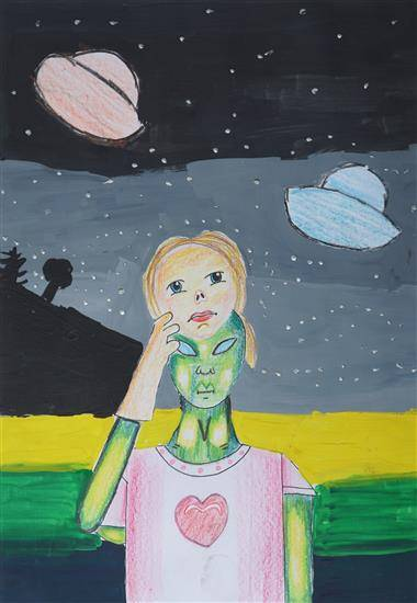 Painting  by Nidhi Pokharna - Aliens on Earth