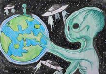 Painting  by Disen Tangjang - Aliens on Earth