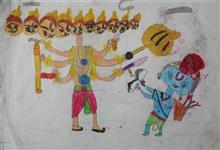 Painting  by Mehak Borse - Ram kills Ravan