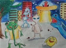 Painting  by Aayush Bhogale - Aliens on Earth