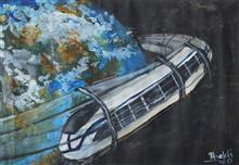 Painting  by Bhakti Modale - SPACE TRAIN