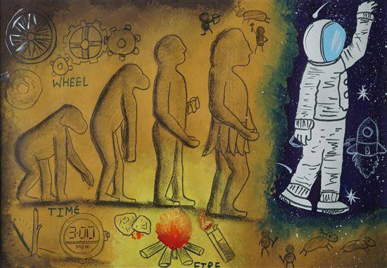 Painting  by Kushal Gehlot - Cave Man and Today's Technology