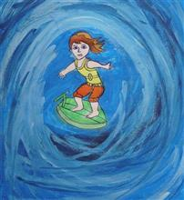 Painting  by Sagar Dandgule - Water skiing