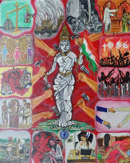 Painting  by Biswajit Jena - SAVE MOTHER INDIA