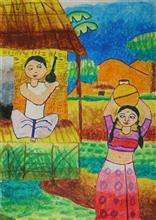 Painting  by Pratyasha Paul - Village Girls
