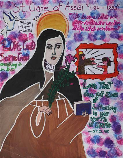 "Painting  by Sanika Pathania - St. Clare of Assisi ""1184 - 1253"""