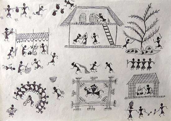 painting by Sameer Wangad - Warli Art 2