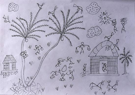 painting by Sameer Wangad - Warli Art 1