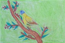 Painting  by Shila Padvale - Bird on Branch