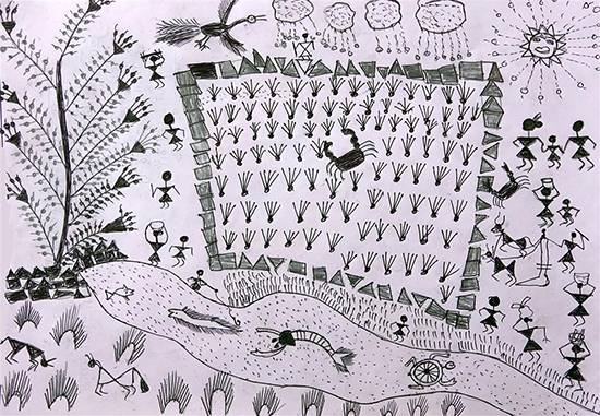 painting by Urmila Parhad - Warli Art - Farming