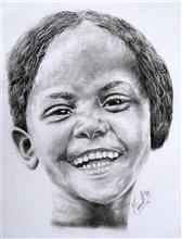 Painting  by Mainak Deb - Smile in her beauty