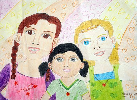 Painting  by Neha Jacob - Friends across three countries