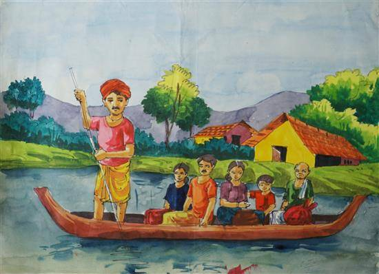 Painting  by Punnya Ranjith - Flood in Kerala