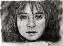 Painting  by Sanyukta Pawar - A Portrait of syrian girl from refugee camp in Adana, Turkey