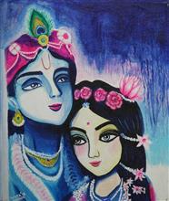 Painting  by Samita Roy - Radha Krishna