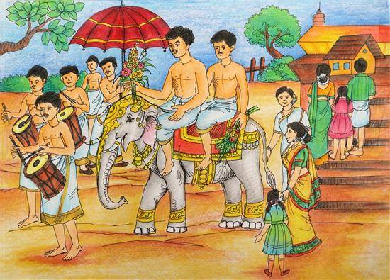 Painting  by Bandita Mahanta - Traditional Festival of Kerala