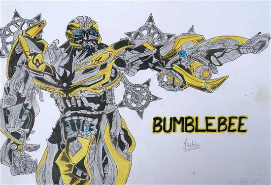 Painting  by Jasbir Kaur - Bumblebee - A Character of  The Movie 'Transformers'