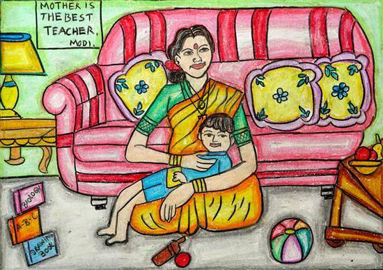 Mother is the Best  Teacher, painting by Shriya Dharmaji