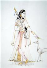 Painting  by Suyash Goel - A Girl Playing Vina