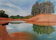 Reflection of trees, painting by T. Vijaya Kumari